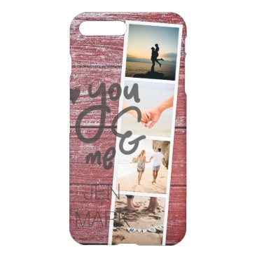 Beach Themed You & Me. Photo Collage of Memories. Red Wood. iPhone 8 Plus/7 Plus Case