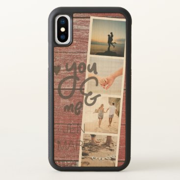 Beach Themed You & Me. Photo Collage of Memories. Red Wood. iPhone X Case