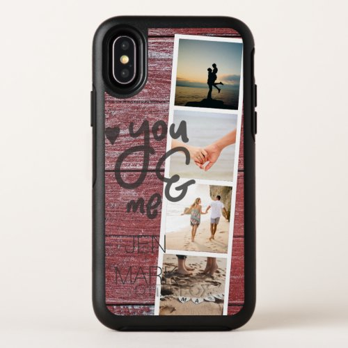 You & Me. Photo Collage of Memories. Red Wood. Phone Case