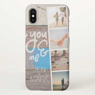 You & Me. Photo Collage of Memories. Wood Panel. iPhone X Case