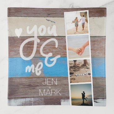 Beach Themed You & Me. Photo Collage of Memories. Wood Panel. Trinket Trays