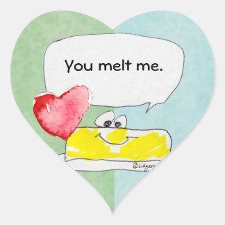 You Melt Me Butter Heart Shape Custom Sticker