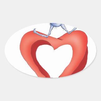 you melt my heart - cat cartoon, tony fernandes oval sticker