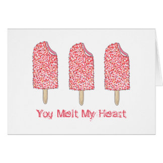 You Melt My Heart Pink Popsicle Valentine's Card