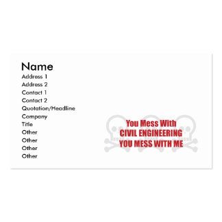 You Mess With Civil Engineering You Mess With Me Double-Sided Standard Business Cards (Pack Of 100)