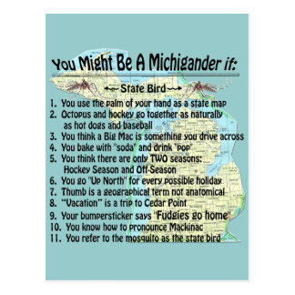 You Might Be A Michigander If: Postcard