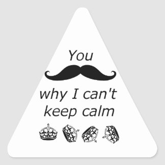 You Mustache why I can't Keep Calm Triangle Sticker