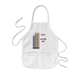 You name, loves art kids' apron