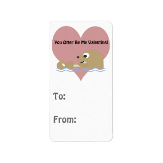 You Otter Be My Valentine Label