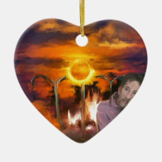 you owe me_Painting.jpg Double-Sided Heart Ceramic Christmas Ornament