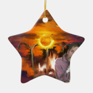 you owe me_Painting.jpg Double-Sided Star Ceramic Christmas Ornament