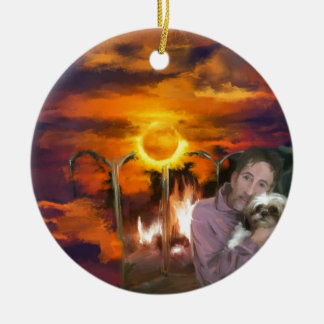 you owe me_Painting.jpg Double-Sided Ceramic Round Christmas Ornament