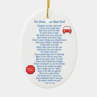 You Passed Road Test Double-Sided Oval Ceramic Christmas Ornament