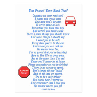 You Passed Road Test Postcards