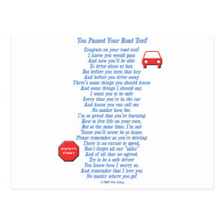 You Passed Road Test Post Card