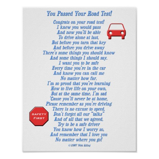You Passed Road Test Posters