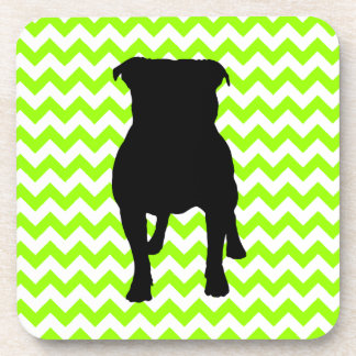 You Pick The Color Chevron With Pug Silhouette Drink Coaster