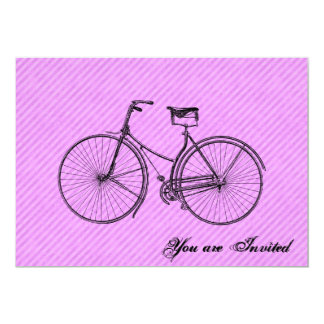 "You Plus Bicycle Equal Happy Antique Lavender Pink 5"" X 7"" Invitation Card"