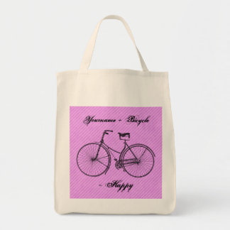 You Plus Bicycle Equal Happy Antique Lavender Pink Tote Bag