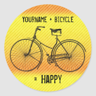 You Plus Bicycle Equal Happy Antique Yellow Orange Classic Round Sticker