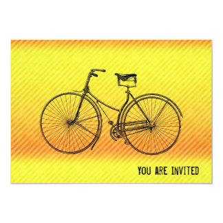 "You Plus Bicycle Equal Happy Antique Yellow Orange 5"" X 7"" Invitation Card"