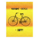 You Plus Bicycle Equal Happy Antique Yellow Orange Postcard