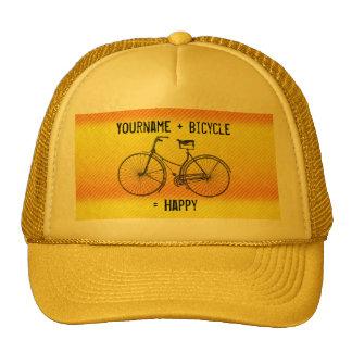 You Plus Bicycle Equal Happy Antique Yellow Orange Trucker Hat