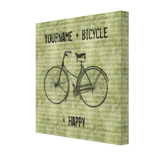 You Plus Bicycle Equals Happy Antique Bike Green Canvas Print