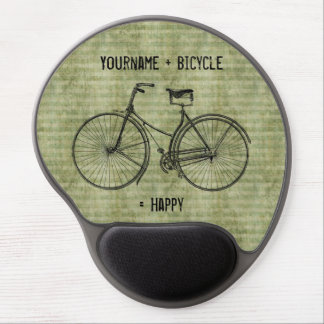 You Plus Bicycle Equals Happy Antique Bike Green Gel Mouse Pad