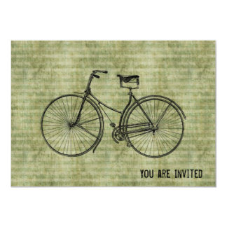 "You Plus Bicycle Equals Happy Antique Bike Green 5"" X 7"" Invitation Card"