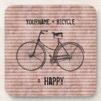 You Plus Bicycle Equals Happy Antique Bike Pink Beverage Coaster