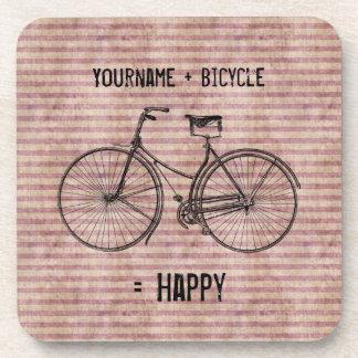 You Plus Bicycle Equals Happy Antique Bike Pink Beverage Coaster