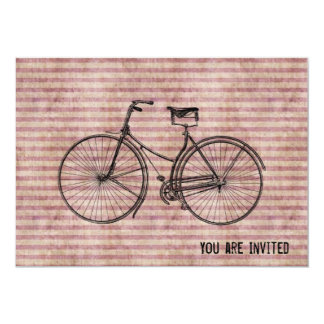 "You Plus Bicycle Equals Happy Antique Bike Pink 5"" X 7"" Invitation Card"