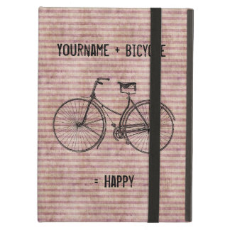 You Plus Bicycle Equals Happy Antique Bike Pink iPad Air Cases