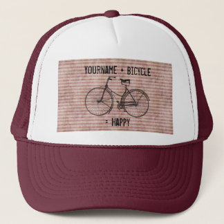 You Plus Bicycle Equals Happy Antique Bike Pink Trucker Hat