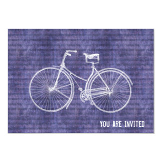 "You Plus Bicycle Equals Happy Antique Bike Purple 5"" X 7"" Invitation Card"