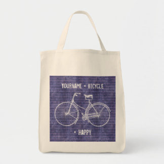 You Plus Bicycle Equals Happy Antique Bike Purple Tote Bag