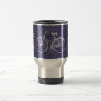 You Plus Bicycle Equals Happy Antique Bike Purple Travel Mug