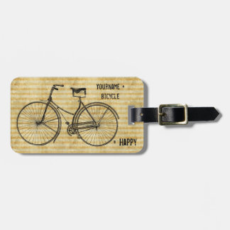 You Plus Bicycle Equals Happy Antique Bike Yellow Bag Tag