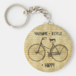 You Plus Bicycle Equals Happy Antique Bike Yellow Basic Round Button Keychain