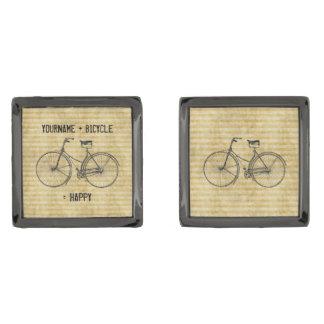 You Plus Bicycle Equals Happy Antique Bike Yellow Gunmetal Finish Cufflinks