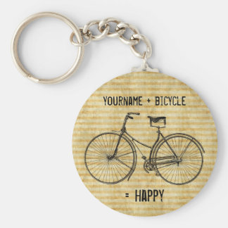 You Plus Bicycle Equals Happy Antique Bike Yellow Keychain
