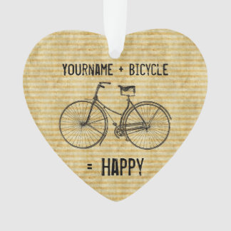 You Plus Bicycle Equals Happy Antique Bike Yellow Ornament
