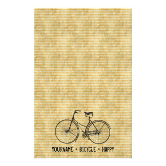 You Plus Bicycle Equals Happy Antique Bike Yellow Stationery