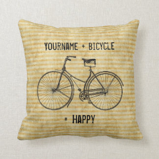You Plus Bicycle Equals Happy Antique Bike Yellow Throw Pillow