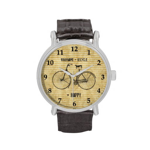 You Plus Bicycle Equals Happy Antique Bike Yellow Watches