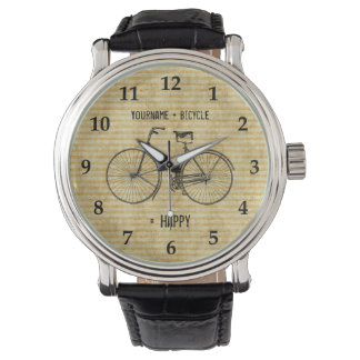 You Plus Bicycle Equals Happy Antique Bike Yellow Wrist Watch