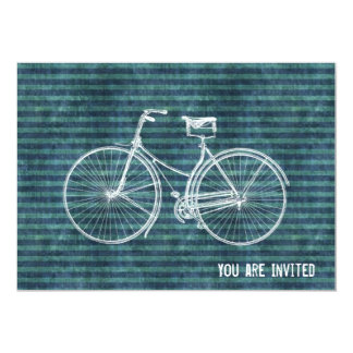 "You Plus Bicycle Equals Happy Antique Blue Green 5"" X 7"" Invitation Card"