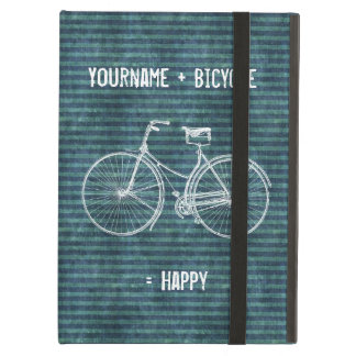 You Plus Bicycle Equals Happy Antique Blue Green iPad Air Case