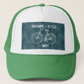 You Plus Bicycle Equals Happy Antique Blue Green Trucker Hat